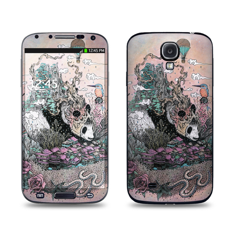 Samsung Galaxy S4 Skin design of Illustration, Art, Fictional character, Printmaking, Marsupial, Graphic design, Rodent, Possum with gray, black, red, blue, purple colors