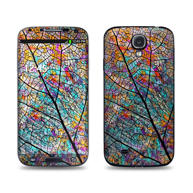 Samsung Galaxy S4 Skin design of Pattern, Colorfulness, Line, Branch, Tree, Leaf, Design, Visual arts, Glass, Plant with black, gray, red, blue, green colors