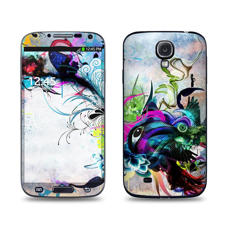 Samsung Galaxy S4 Skin design of Graphic design, Psychedelic art, Art, Illustration, Purple, Visual arts, Graffiti, Street art, Design, Painting with gray, black, blue, green, purple colors