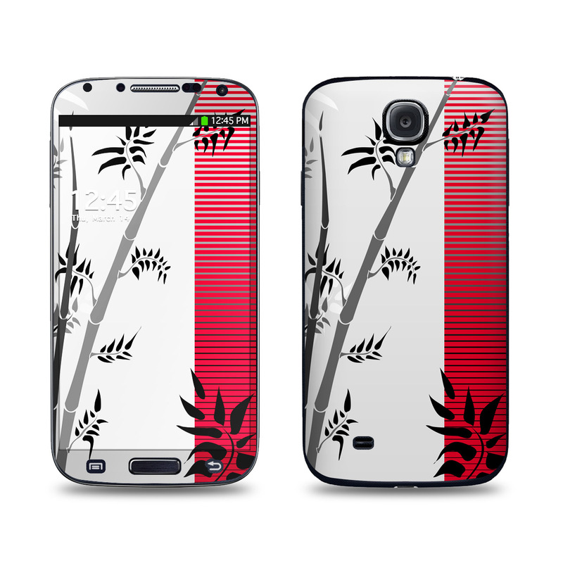 Samsung Galaxy S4 Skin design of Botany, Plant, Branch, Plant stem, Tree, Bamboo, Pedicel, Black-and-white, Flower, Twig with gray, red, black, white colors
