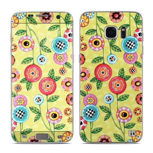 Button Flowers Galaxy S7 Edge Skin