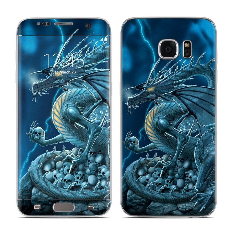 Samsung Galaxy S7 Edge Skin design of Cg artwork, Dragon, Mythology, Fictional character, Illustration, Mythical creature, Art, Demon with blue, yellow colors