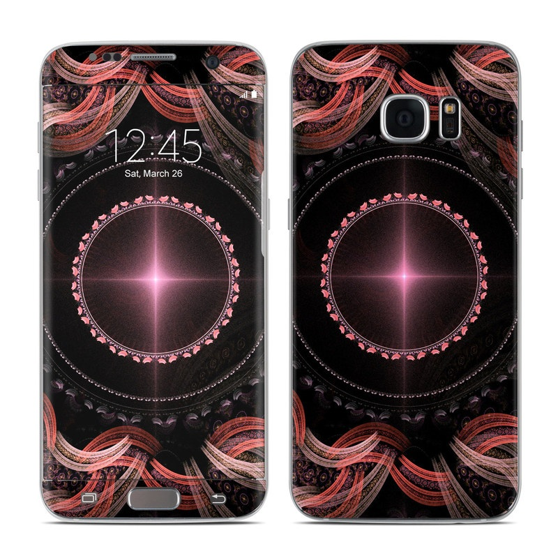 Samsung Galaxy S7 Edge Skin design of Pattern, Fractal art, Art, Design, Graphic design, Visual arts, Illustration, Graphics, Circle, Symmetry with black, red, pink colors