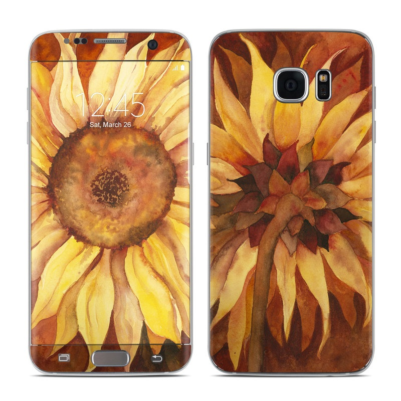 Samsung Galaxy S7 Edge Skin design of Sunflower, Flower, sunflower, Yellow, Painting, Plant, Petal, Still life photography, Flowering plant, Still life with yellow, brown, orange colors