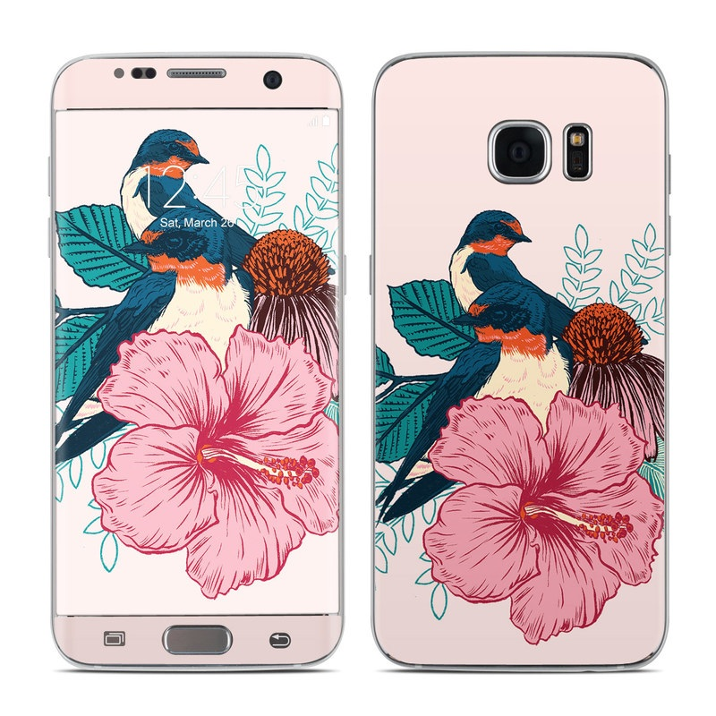 Samsung Galaxy S7 Edge Skin design of Bird, Hawaiian hibiscus, Hibiscus, Illustration, Chinese hibiscus, Botany, Flower, Plant, Malvales, Mallow family with blue, pink, green, yellow, red colors