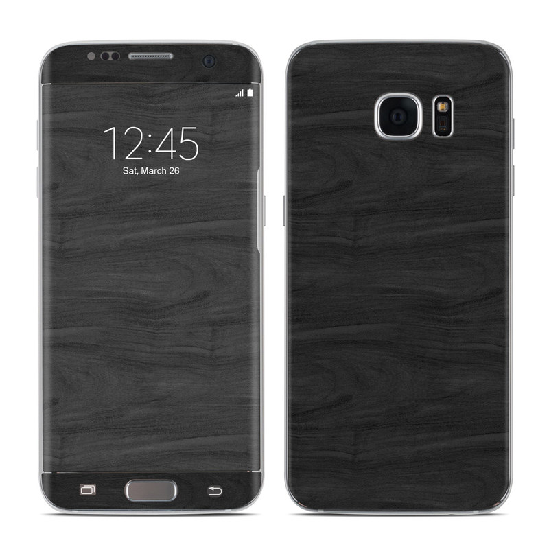 Samsung Galaxy S7 Edge Skin design of Black, Brown, Wood, Grey, Flooring, Floor, Laminate flooring, Wood flooring with black colors