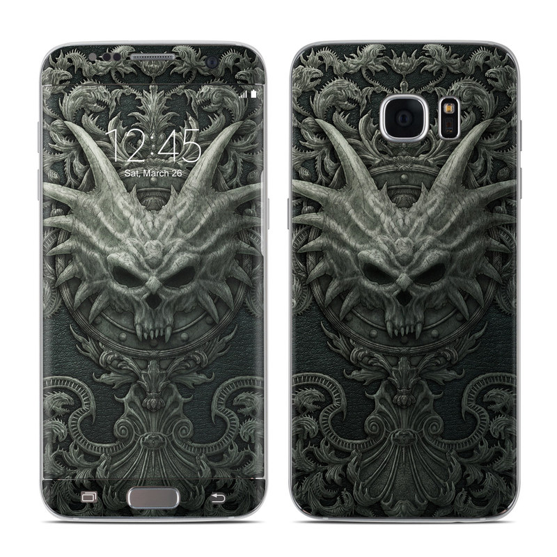 Samsung Galaxy S7 Edge Skin design of Demon, Dragon, Fictional character, Illustration, Supernatural creature, Drawing, Symmetry, Art, Mythology, Mythical creature with black, gray colors