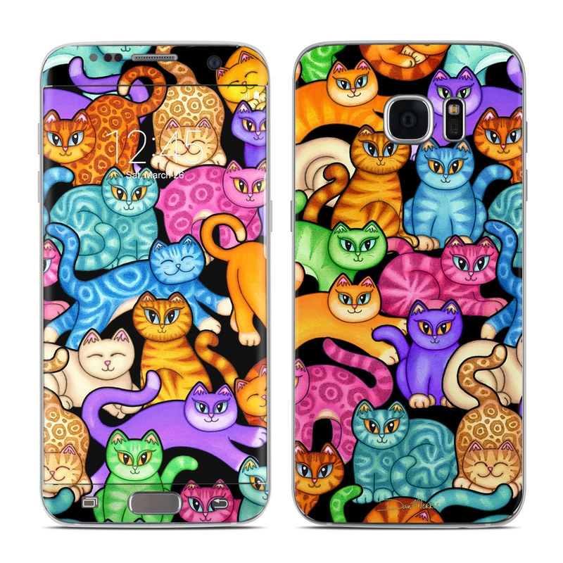Samsung Galaxy S7 Edge Skin design of Cat, Cartoon, Felidae, Organism, Small to medium-sized cats, Illustration, Animated cartoon, Wildlife, Kitten, Art with black, blue, red, purple, green, brown colors