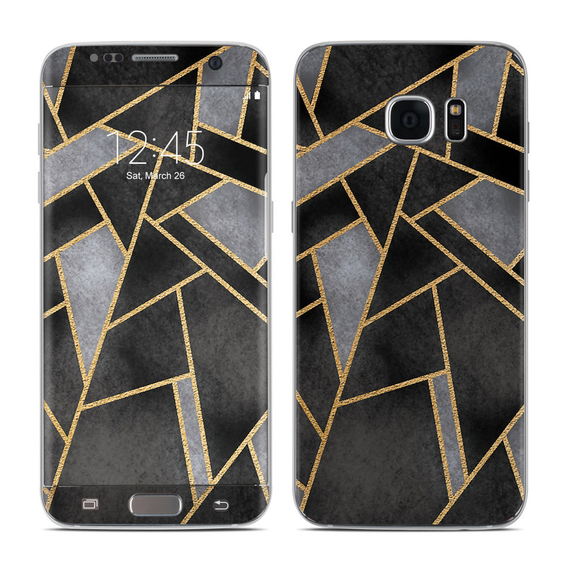 Samsung Galaxy S7 Edge Skin design of Pattern, Triangle, Yellow, Line, Tile, Floor, Design, Symmetry, Architecture, Flooring with black, gray, yellow colors