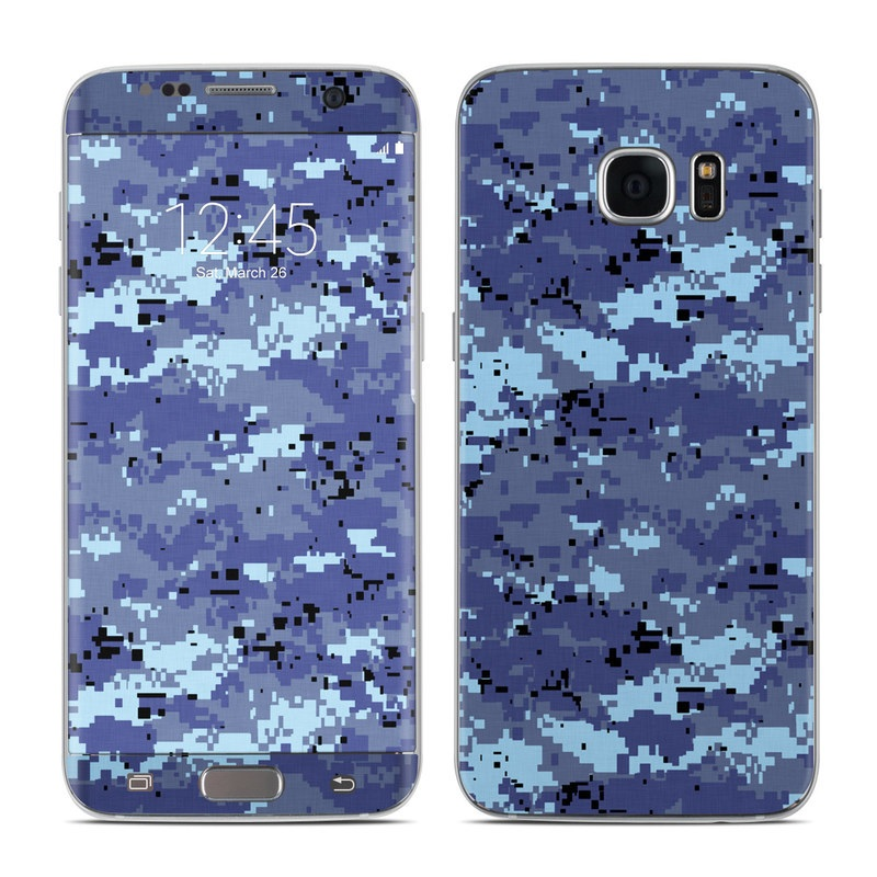 Samsung Galaxy S7 Edge Skin design of Blue, Purple, Pattern, Lavender, Violet, Design with blue, gray, black colors
