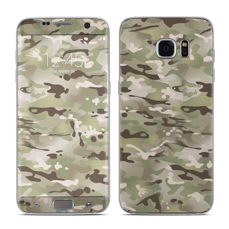 Samsung Galaxy S7 Edge Skin design of Military camouflage, Camouflage, Pattern, Clothing, Uniform, Design, Military uniform, Bed sheet with gray, green, black, red colors