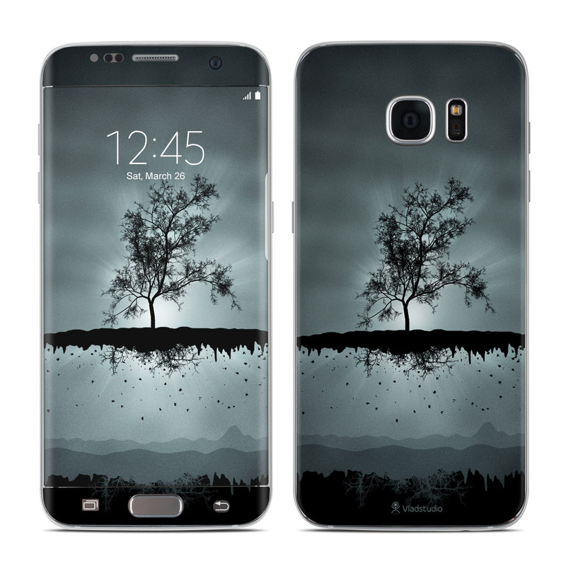 Samsung Galaxy S7 Edge Skin design of Reflection, Sky, Nature, Water, Black, Tree, Black-and-white, Monochrome photography, Natural landscape, Atmospheric phenomenon with black, gray, blue colors