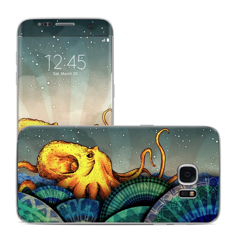 Samsung Galaxy S7 Edge Skin design of Illustration, Fractal art, Art, Cg artwork, Sky, Organism, Psychedelic art, Graphic design, Graphics, Octopus with black, gray, blue, green, red colors
