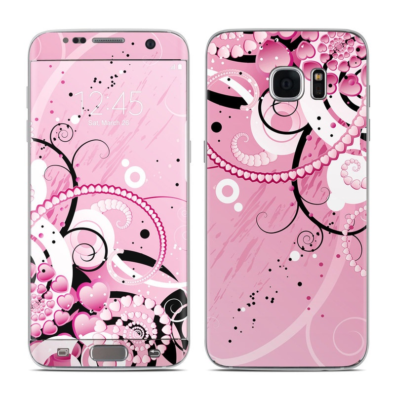 Samsung Galaxy S7 Edge Skin design of Pink, Floral design, Graphic design, Text, Design, Flower Arranging, Pattern, Illustration, Flower, Floristry with pink, gray, black, white, purple, red colors