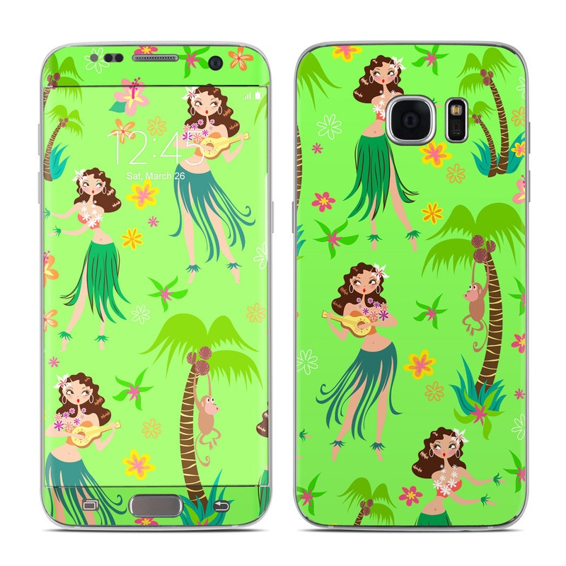 Samsung Galaxy S7 Edge Skin design of Green, Cartoon, Illustration, Fictional character, Dance, Clip art, Graphics, Art, Pattern, Hula with green, brown, pink, yellow, orange colors