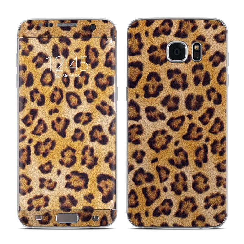 Samsung Galaxy S7 Edge Skin design of Pattern, Felidae, Fur, Brown, Design, Terrestrial animal, Close-up, Big cats, African leopard, Organism with orange, black colors
