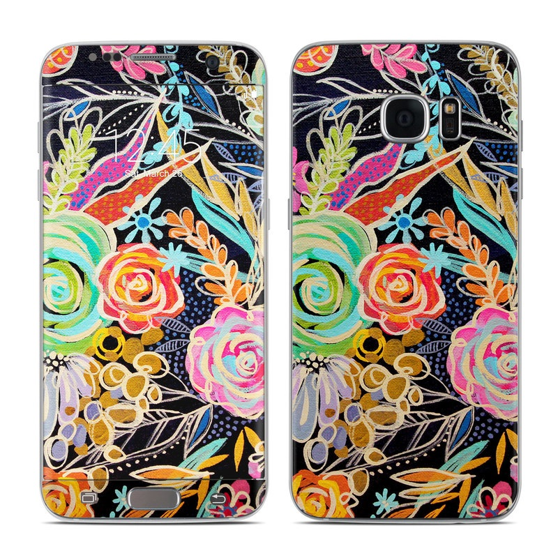 Samsung Galaxy S7 Edge Skin design of Pattern, Floral design, Design, Textile, Visual arts, Art, Graphic design, Psychedelic art, Plant with black, gray, green, red, blue colors