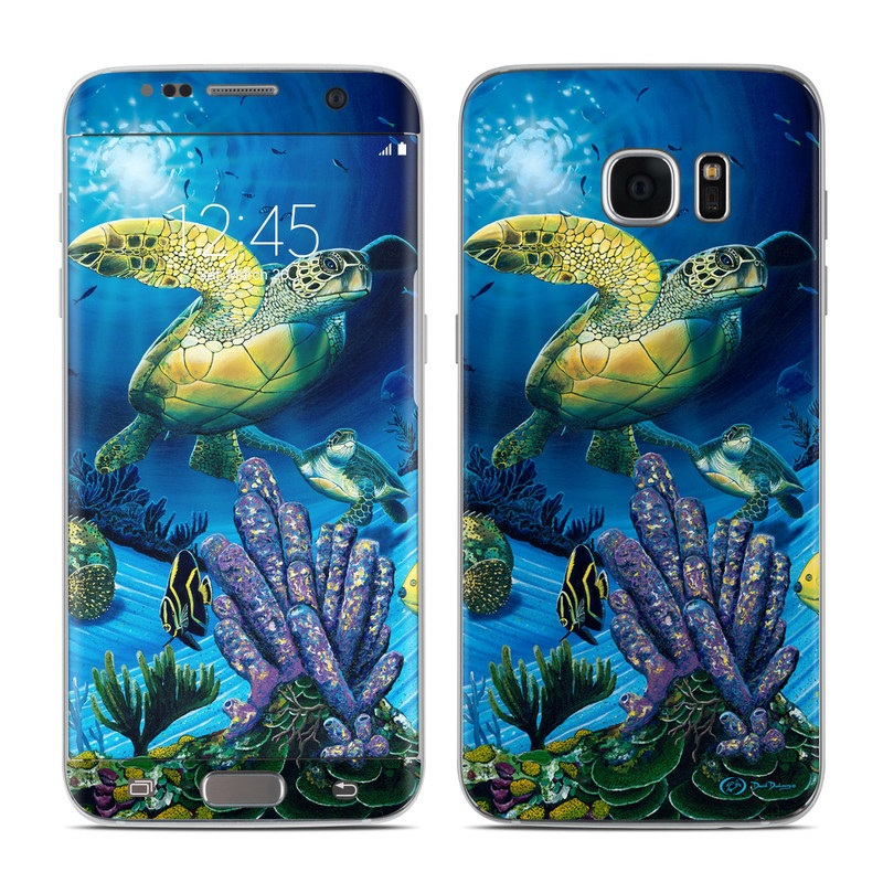 Samsung Galaxy S7 Edge Skin design of Sea turtle, Green sea turtle, Marine biology, Turtle, Organism, Underwater, Coral reef, Stony coral, Reef, Coral reef fish with black, blue, green, gray colors