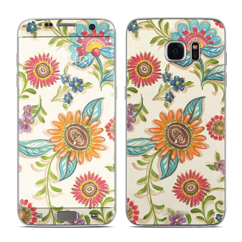 Samsung Galaxy S7 Edge Skin design of Pattern, Floral design, Flower, Botany, Design, Visual arts, Textile, Plant, Wildflower, Pedicel with gray, green, pink, yellow, red, blue colors