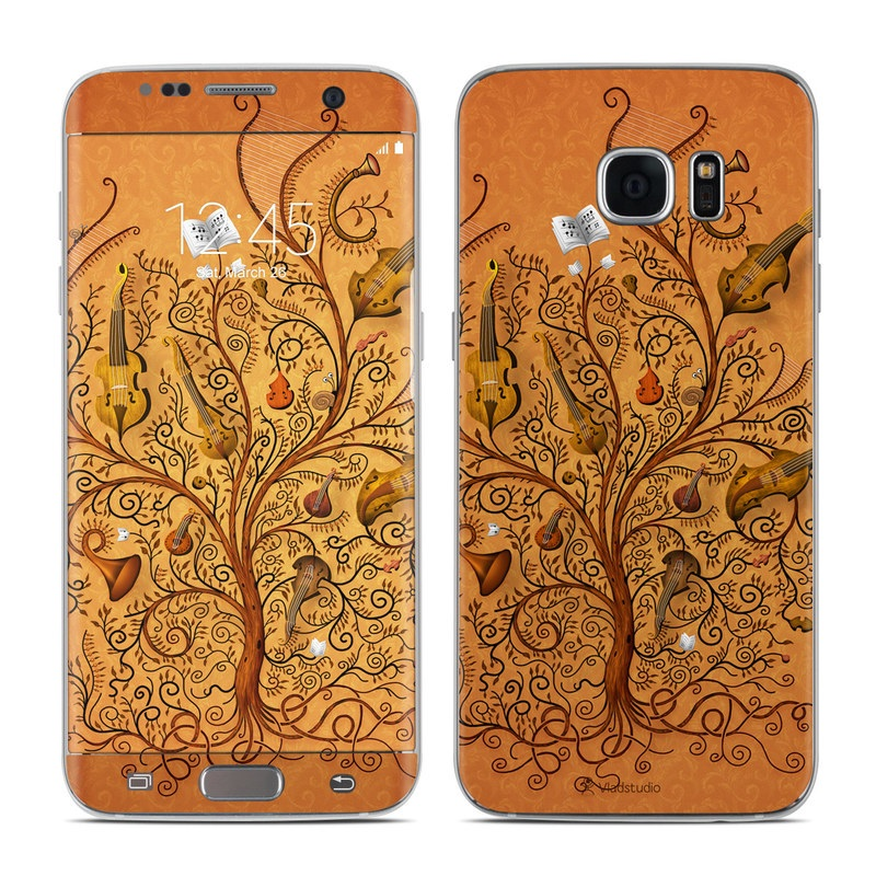 Samsung Galaxy S7 Edge Skin design of Pattern, Art, Design, Brown, Visual arts, Motif, Ornament, Floral design, Textile, Wallpaper with green, red, black colors