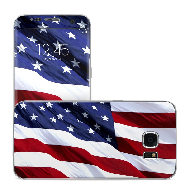 Samsung Galaxy S7 Edge Skin design of Flag, Flag of the united states, Flag Day (USA), Veterans day, Memorial day, Holiday, Independence day, Event with red, blue, white colors