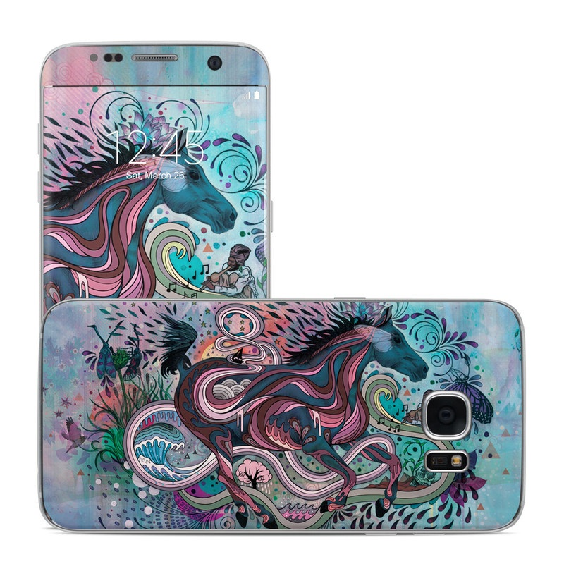 Samsung Galaxy S7 Edge Skin design of Illustration, Art, Visual arts, Graphic design, Fictional character, Psychedelic art, Pattern, Drawing, Painting, Mythology with gray, black, blue, red, purple colors