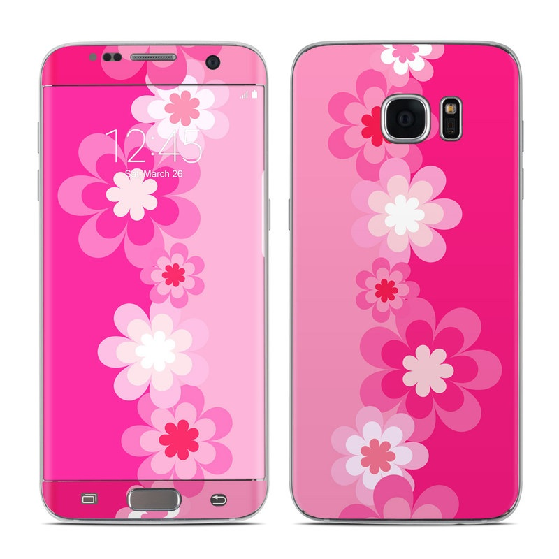 Retro Pink Flowers Galaxy S7 Edge Skin