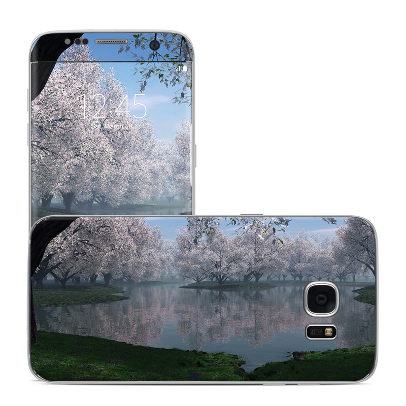 Samsung Galaxy S7 Edge Skin design of Nature, Natural landscape, Reflection, Water, Tree, Bank, Atmospheric phenomenon, Lake, Spring, Morning with black, gray, blue colors
