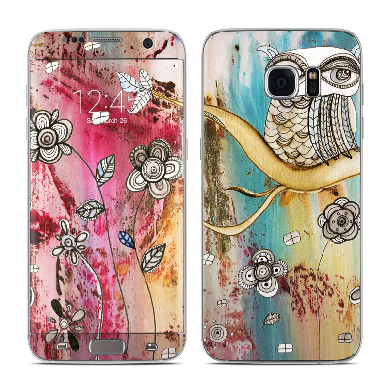 Samsung Galaxy S7 Edge Skin design of Owl, Pink, Illustration, Art, Visual arts, Watercolor paint, Organism, Modern art, Graphic design, Pattern with gray, red, green, black, blue, purple colors