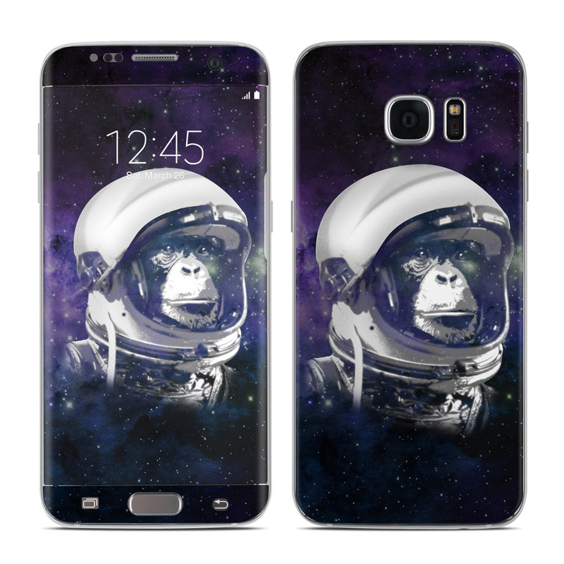 Samsung Galaxy S7 Edge Skin design of Helmet, Astronaut, Personal protective equipment, Illustration, Space, Outer space, Headgear, Fictional character, Sports gear, Football gear with black, gray, blue, white colors