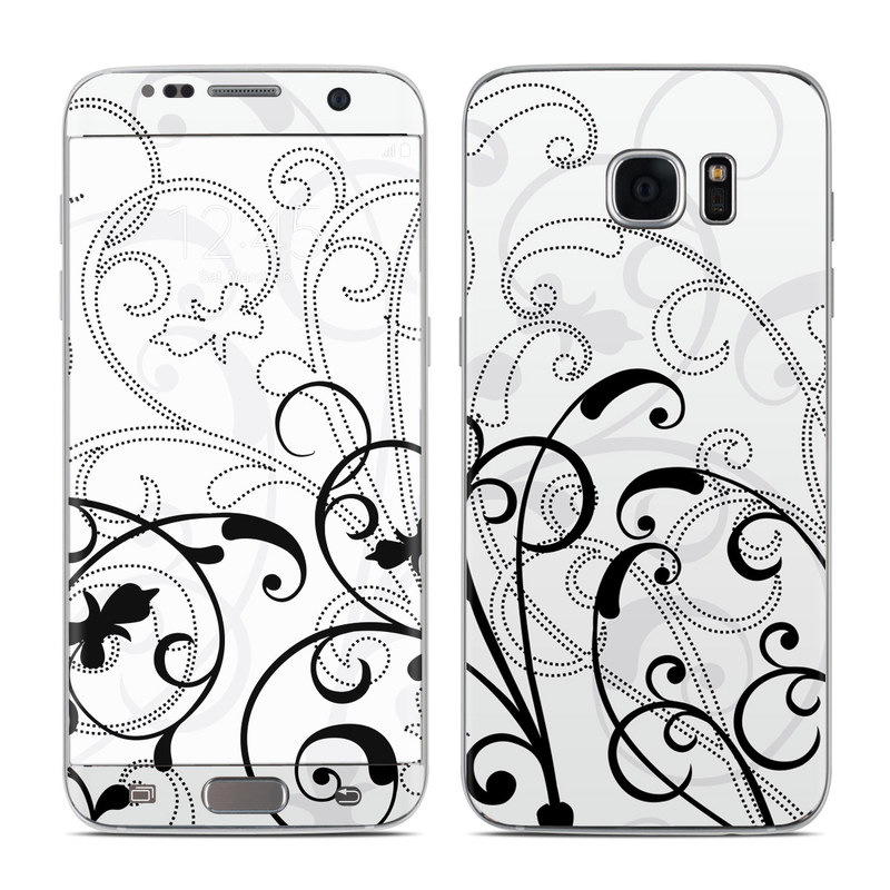 Samsung Galaxy S7 Edge Skin design of White, Line art, Floral design, Pattern, Black-and-white, Design, Botany, Ornament, Leaf, Line with white, gray, black colors