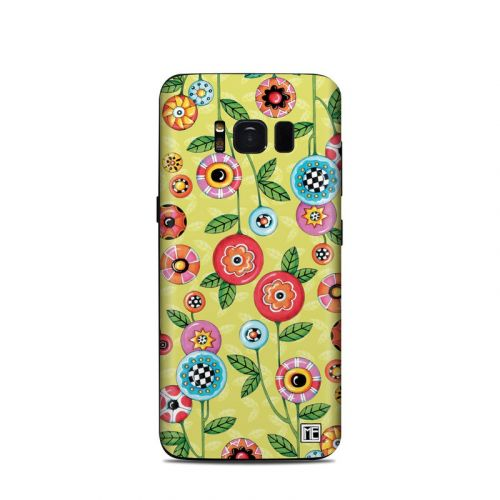 Button Flowers Samsung Galaxy S8 Skin