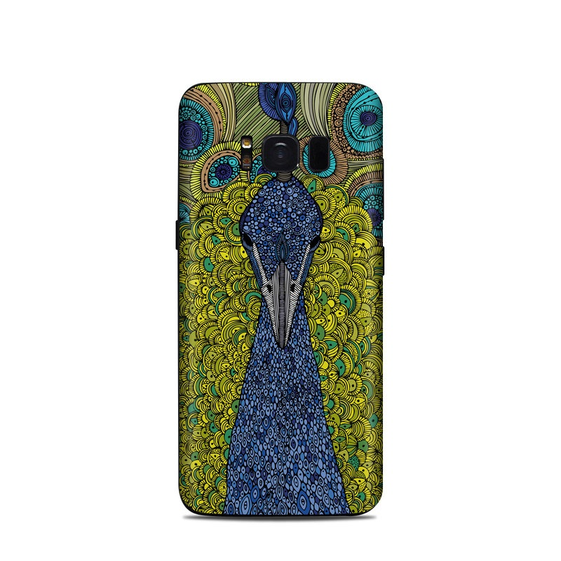 Samsung Galaxy S8 Skin design of Peafowl, Bird, Feather, Pattern, Art, Phasianidae, Galliformes, Design, Psychedelic art, Symmetry with green, blue, yellow colors