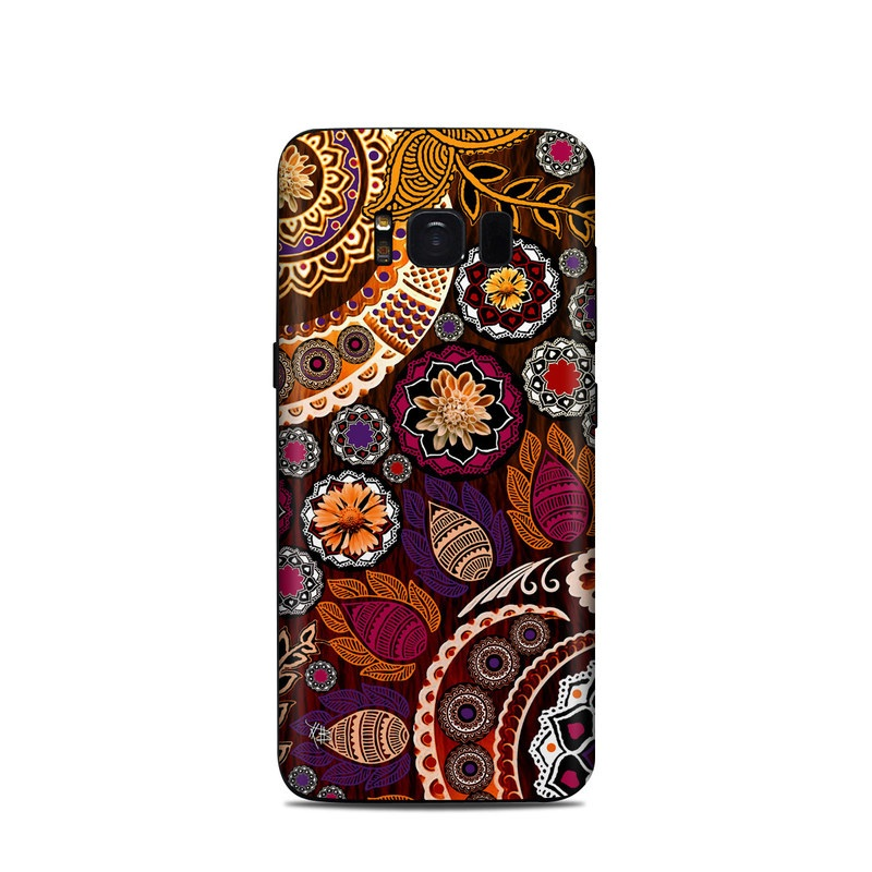Samsung Galaxy S8 Skin design of Pattern, Motif, Visual arts, Design, Art, Floral design, Textile, Paisley, Tapestry, Circle with brown, purple, red, white, black colors