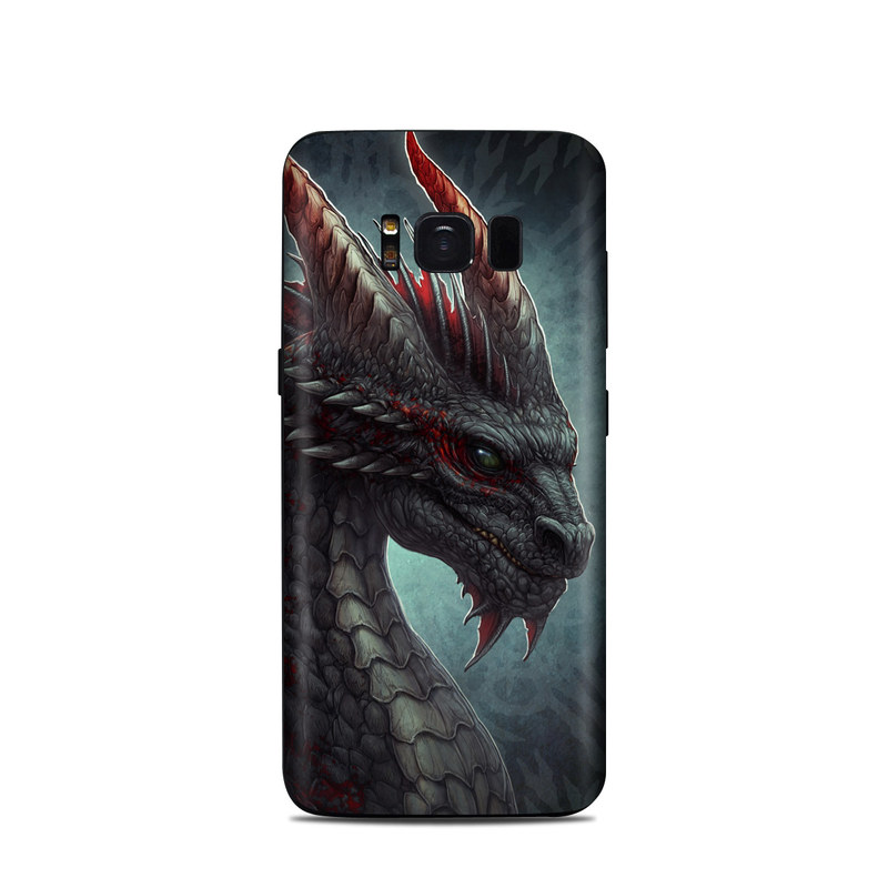 Samsung Galaxy S8 Skin design of Dragon, Fictional character, Mythical creature, Demon, Cg artwork, Illustration, Green dragon, Supernatural creature, Cryptid with red, gray, blue colors