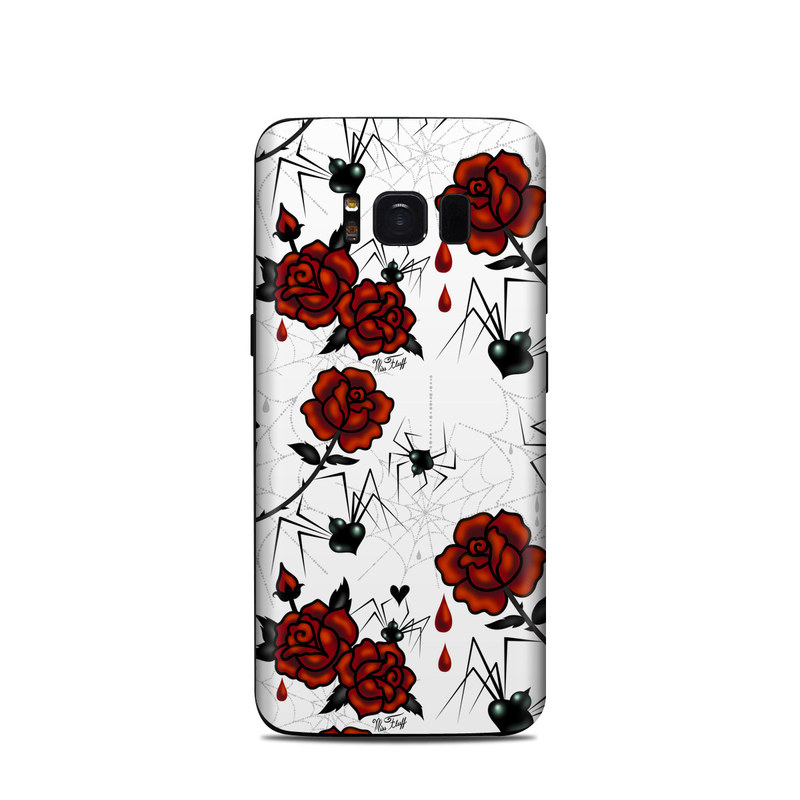 Samsung Galaxy S8 Skin design of Red, Pattern, Flower, Plant, Design, Floral design, Petal, Coquelicot, Wildflower, Rose with black, white, red colors