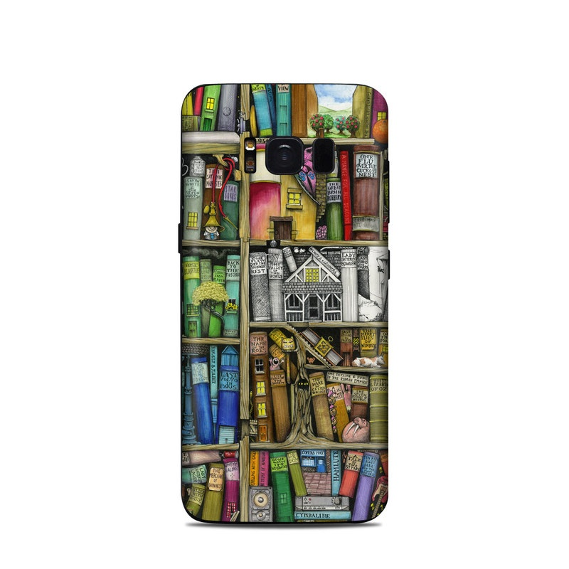 Samsung Galaxy S8 Skin design of Collection, Art, Visual arts, Bookselling, Shelving, Painting, Building, Shelf, Publication, Modern art with brown, green, blue, red, pink colors