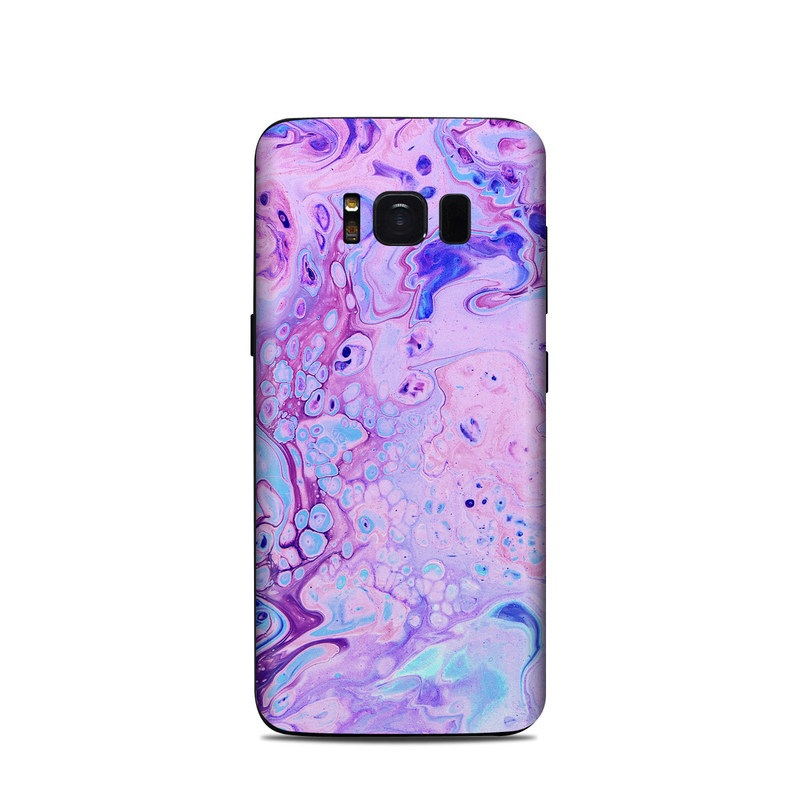 Samsung Galaxy S8 Skin design of Purple, Violet, Lilac, Art, Pattern, Modern art, Painting, Visual arts, Acrylic paint, Magenta with pink, purple, blue colors