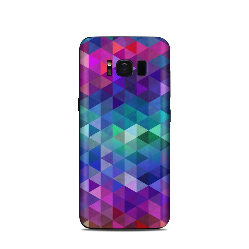 Samsung Galaxy S8 Skin design of Purple, Violet, Pattern, Blue, Magenta, Triangle, Line, Design, Graphic design, Symmetry with blue, purple, green, red, pink colors