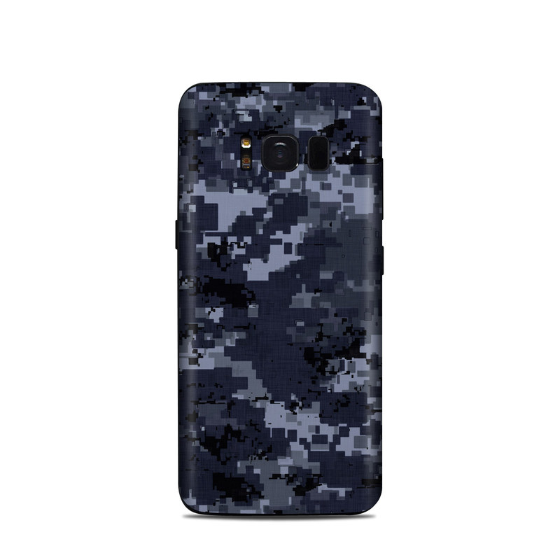 Samsung Galaxy S8 Skin design of Military camouflage, Black, Pattern, Blue, Camouflage, Design, Uniform, Textile, Black-and-white, Space with black, gray, blue colors