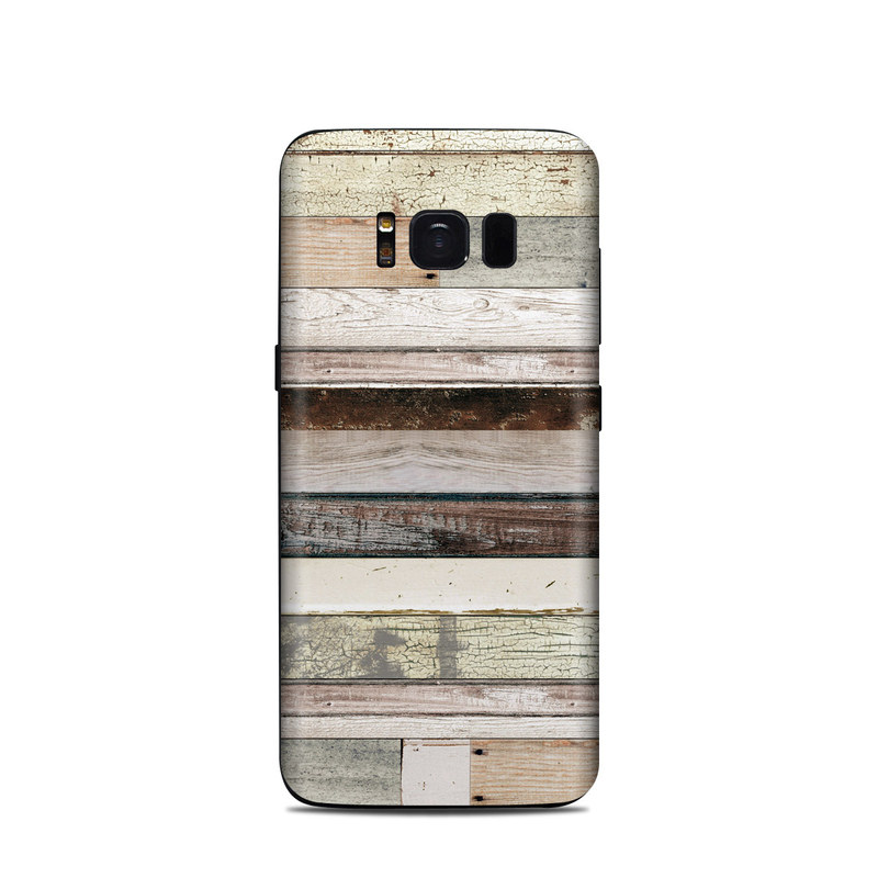 Samsung Galaxy S8 Skin design of Wood, Wall, Plank, Line, Lumber, Wood stain, Beige, Parallel, Hardwood, Pattern with brown, white, gray, yellow colors