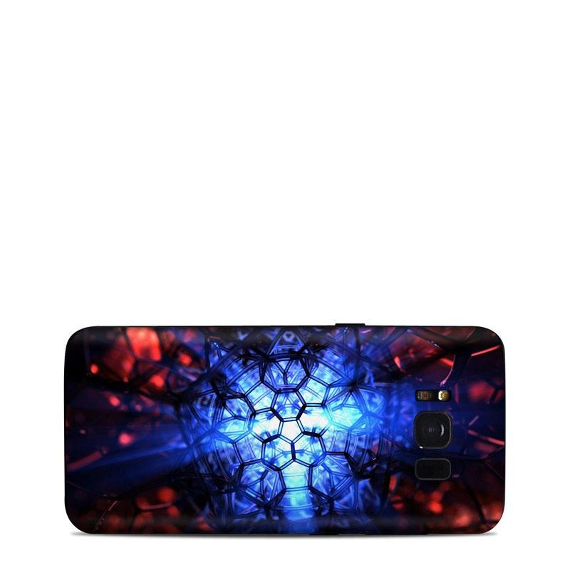 Samsung Galaxy S8 Skin design of Blue, Fractal art, Red, Light, Pattern, Lighting, Art, Kaleidoscope, Design, Psychedelic art with black, blue, red colors