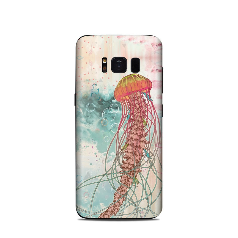 Samsung Galaxy S8 Skin design of Jellyfish, Illustration, Water, Cnidaria, Marine invertebrates, Organism, Portuguese man o' war, Art, Nepenthes, Invertebrate with gray, pink, yellow, red, green colors