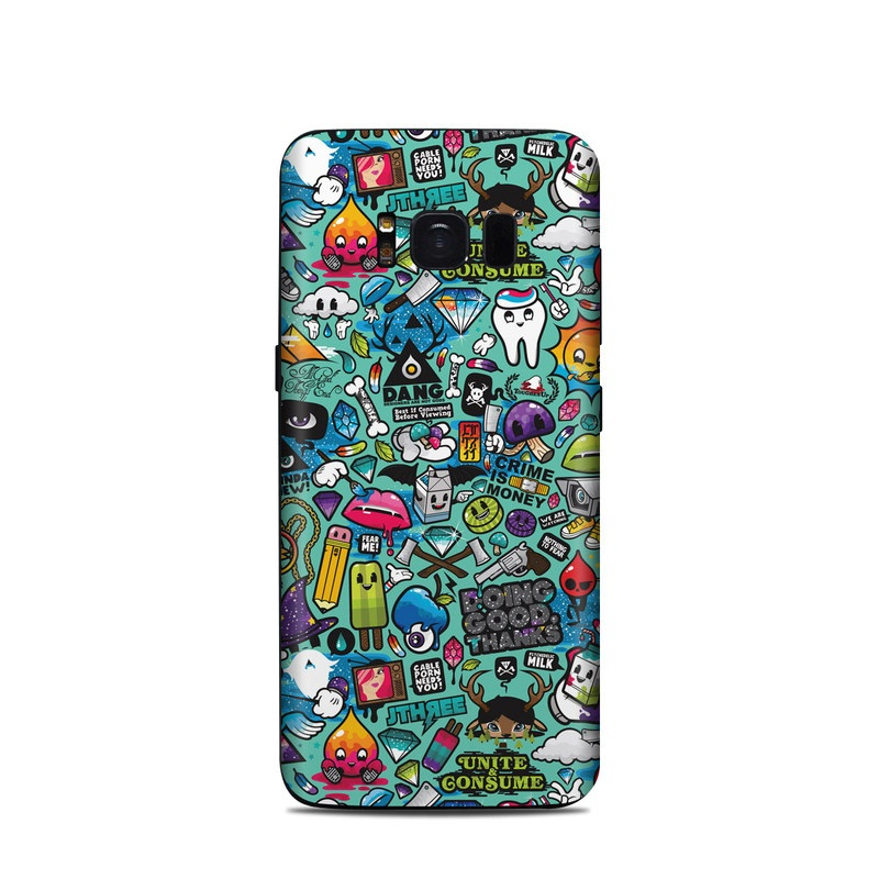 Samsung Galaxy S8 Skin design of Cartoon, Art, Pattern, Design, Illustration, Visual arts, Doodle, Psychedelic art with black, blue, gray, red, green colors