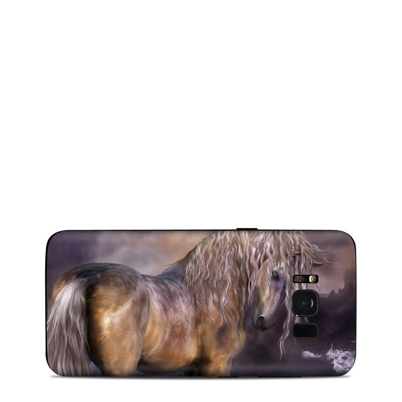 Samsung Galaxy S8 Skin design of Horse, Mane, Stallion, Mustang horse, Fictional character, Mare, Painting, Wildlife, Mythical creature with black, gray, red, blue, green colors