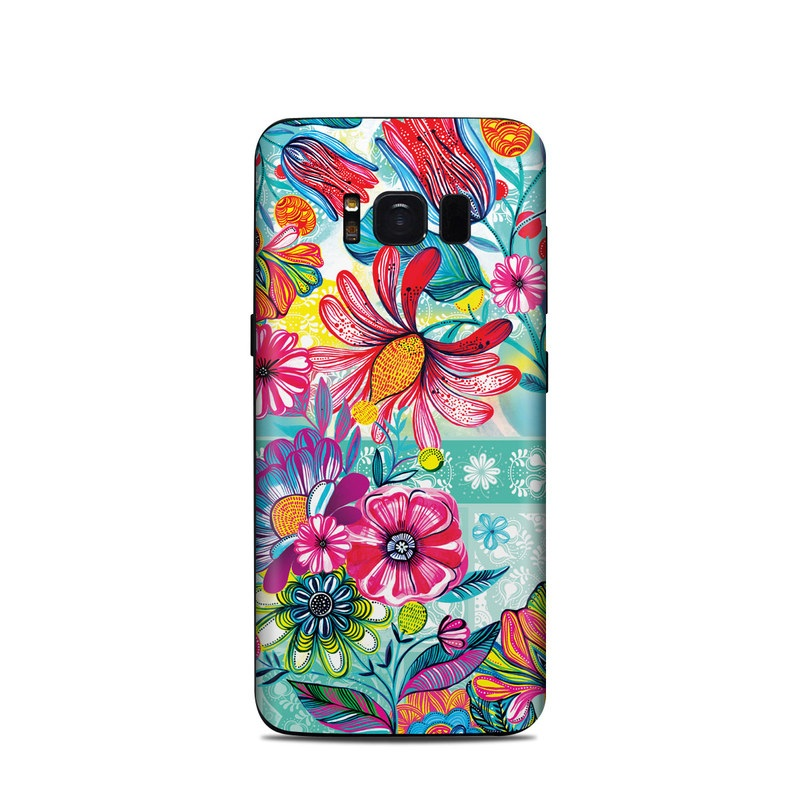 Samsung Galaxy S8 Skin design of Pattern, Floral design, Textile, Pink, Design, Flower, Visual arts, Wildflower, Plant with blue, pink, purple, red, green, yellow, orange colors