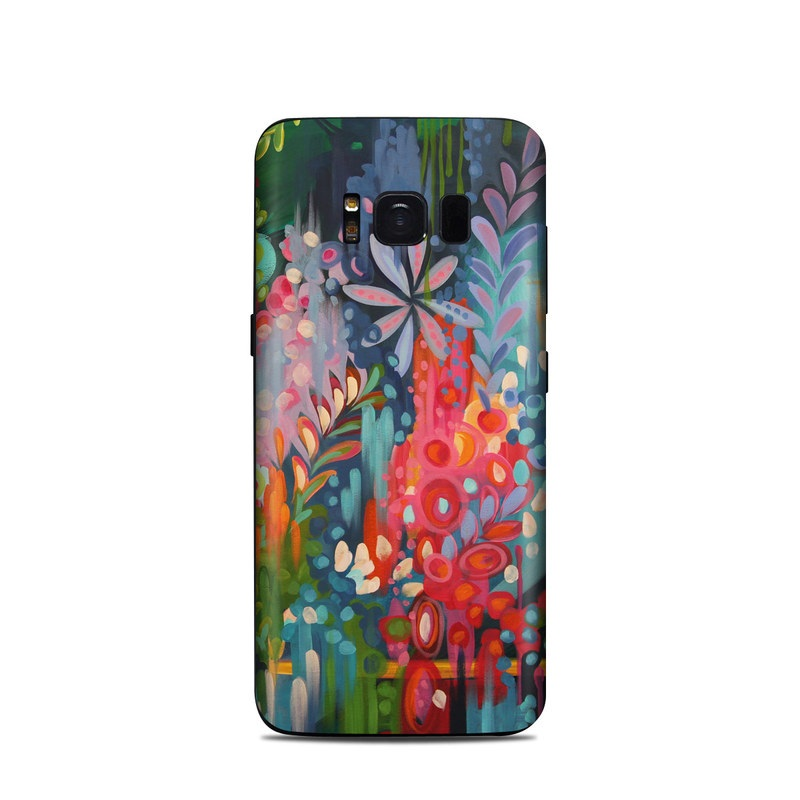 Samsung Galaxy S8 Skin design of Painting, Modern art, Acrylic paint, Art, Visual arts, Watercolor paint, Child art, Flower, Plant, Tree with blue, red, orange, purple, yellow, pink, green colors