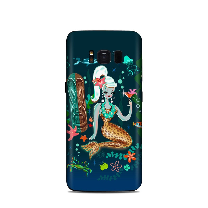 Samsung Galaxy S8 Skin design of Mermaid, Illustration, Organism, Fictional character, Art, Graphic design with blue, red, green, brown, white, pink, orange colors