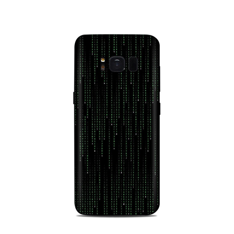 Samsung Galaxy S8 Skin design of Green, Black, Pattern, Symmetry with black colors