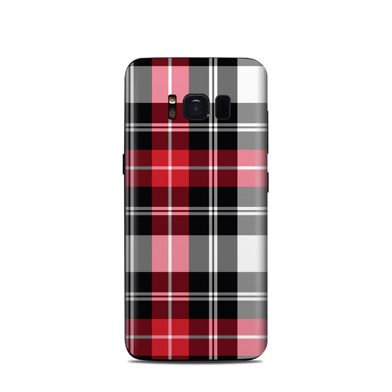 Samsung Galaxy S8 Skin design of Plaid, Tartan, Pattern, Red, Textile, Design, Line, Pink, Magenta, Square with black, gray, pink, red, white colors
